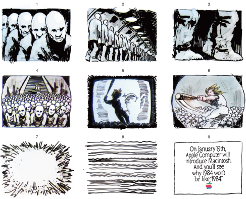 "Nine frames of original TV storyboard for Apple's groundbreaking Super Bowl commercial, ""1984"""